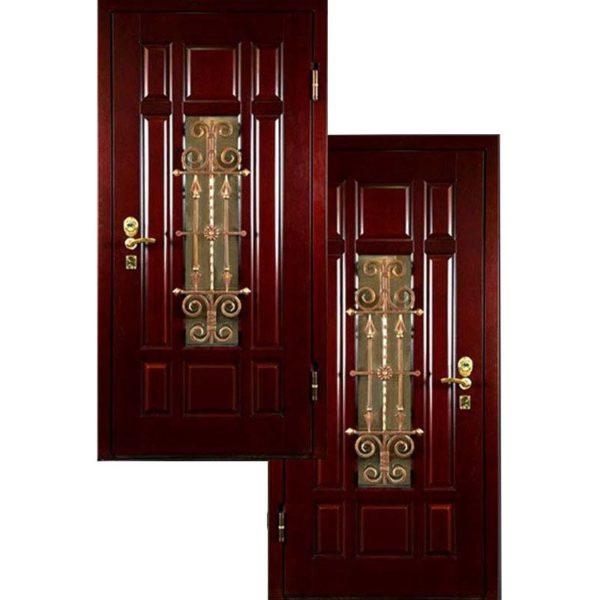 Входная дверь МДФ Филенчатый со стеклопакетом и ковкой СП404