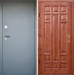 Входная металлическая дверь порошковое напыление МДФ (шпон) СП034
