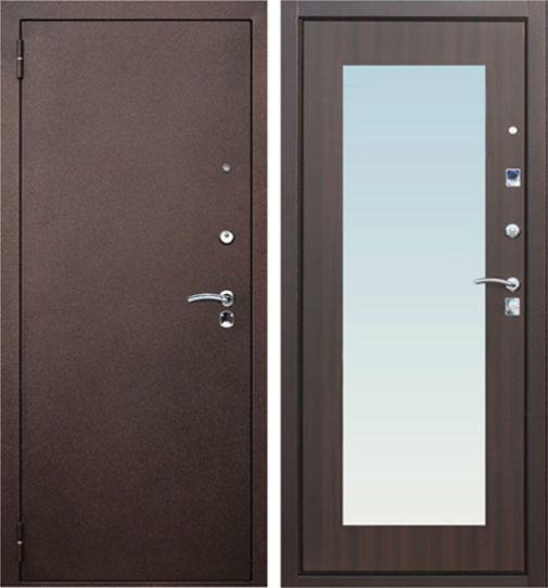 Входная металлическая дверь Порошковое напыление и МДФ с зеркалом СП043