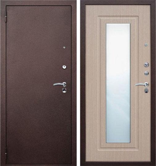 Входная металлическая дверь порошковое напыление и МДФ с зеркалом СП044